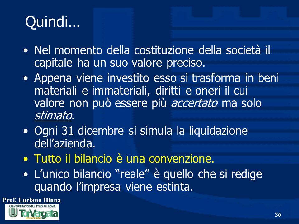 Prof. Luciano Hinna 36 Quindi… Nel momento della costituzione della società il capitale ha un suo valore preciso. Appena viene investito esso si trasf
