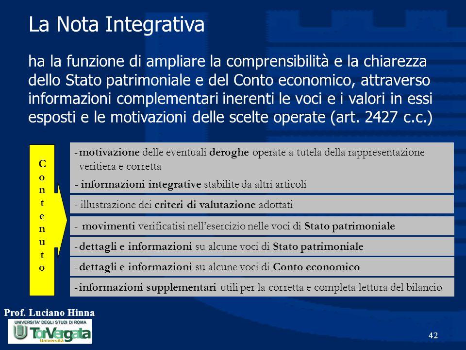 Prof. Luciano Hinna 42 ha la funzione di ampliare la comprensibilità e la chiarezza dello Stato patrimoniale e del Conto economico, attraverso informa