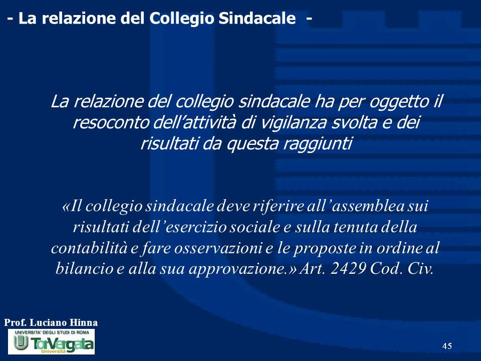 Prof. Luciano Hinna 45 - La relazione del Collegio Sindacale - La relazione del collegio sindacale ha per oggetto il resoconto dell'attività di vigila