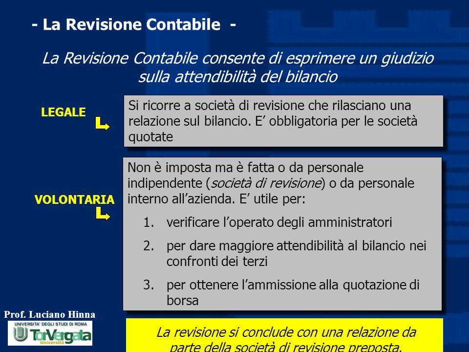 Prof. Luciano Hinna 46 - La Revisione Contabile - La Revisione Contabile consente di esprimere un giudizio sulla attendibilità del bilancio La revisio