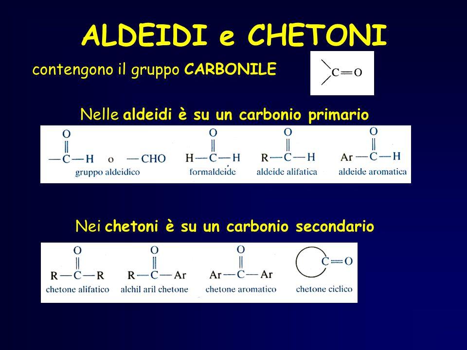 C O H H metanale aldeide formica C O H H 3 C etanale aldeide acetica C O H CH 3 C H H propanale aldeide propionica La vecchia nomenclatura (ancora in uso) è riportata in corsivo sotto la nomenclatura IUPAC.