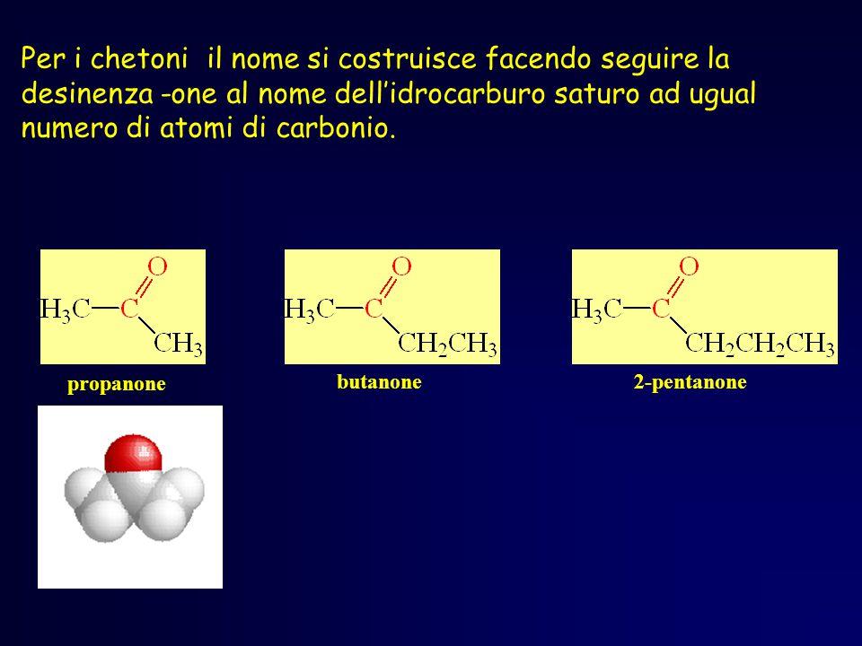 propanone butanone2-pentanone Per i chetoni il nome si costruisce facendo seguire la desinenza -one al nome dell'idrocarburo saturo ad ugual numero di atomi di carbonio.