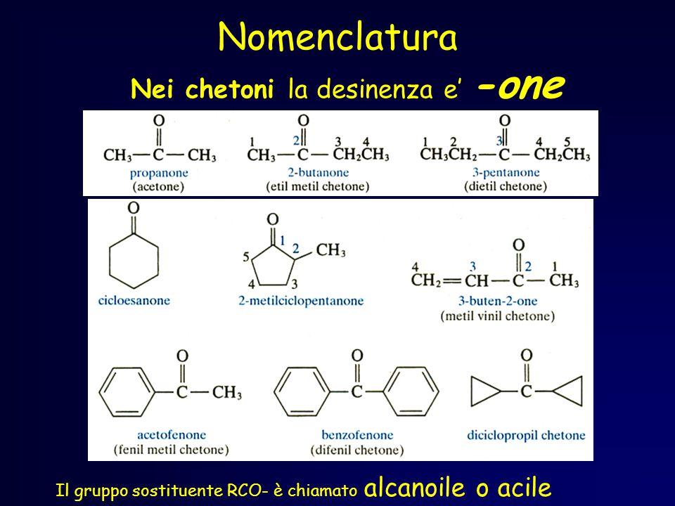 Nomenclatura Nei chetoni la desinenza e' -one Il gruppo sostituente RCO- è chiamato alcanoile o acile