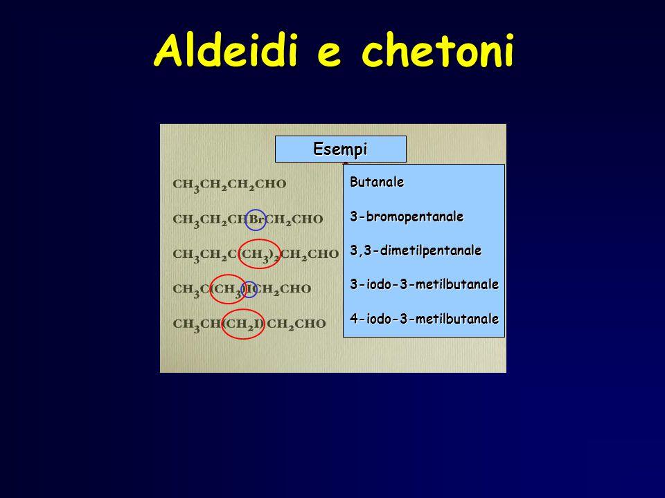 Aldeidi e chetoni Esempi Butanale3-bromopentanale3,3-dimetilpentanale3-iodo-3-metilbutanale4-iodo-3-metilbutanale