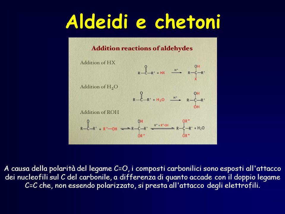 A causa della polarità del legame C=O, i composti carbonilici sono esposti all attacco dei nucleofili sul C del carbonile, a differenza di quanto accade con il doppio legame C=C che, non essendo polarizzato, si presta all attacco degli elettrofili.