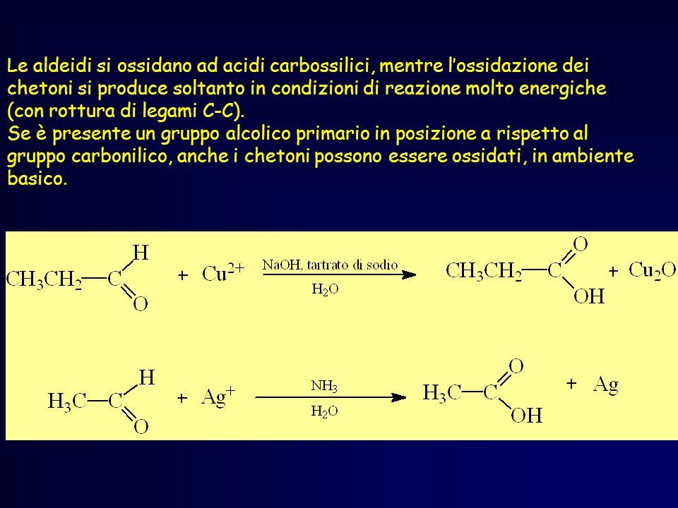 Ossidazione di aldeidi L'ossidazione delle aldeidi produce un acido carbossilico, anche con ossidanti deboli (Ag+, Cu2+) R C H O R C OH O ox