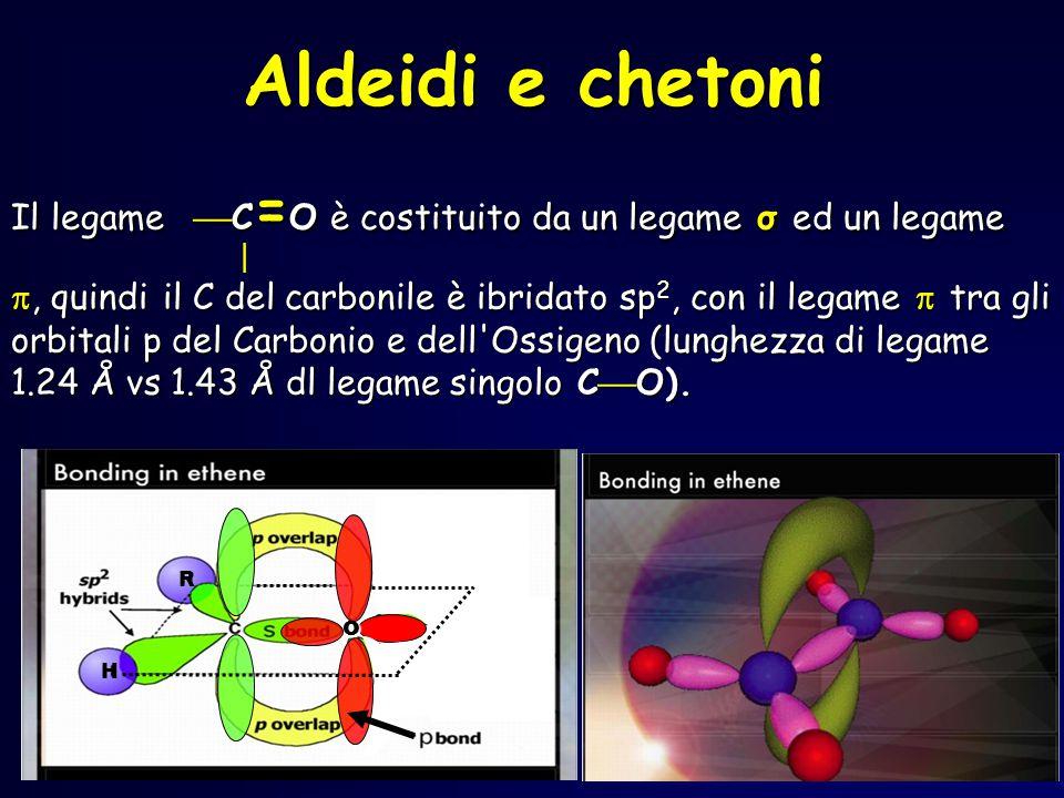 H o Il legame  C = Oè costituito da un legame σ ed un legame  , quindi il C del carbonile è ibridato sp 2, con il legame  tra gli orbitali p del Carbonio e dell Ossigeno (lunghezza di legame 1.24 Å vs 1.43 Å dl legame singolo C  O).
