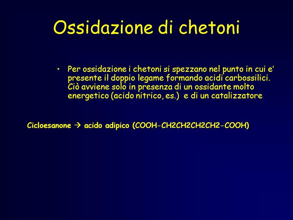 Ossidazione di chetoni Per ossidazione i chetoni si spezzano nel punto in cui e' presente il doppio legame formando acidi carbossilici.