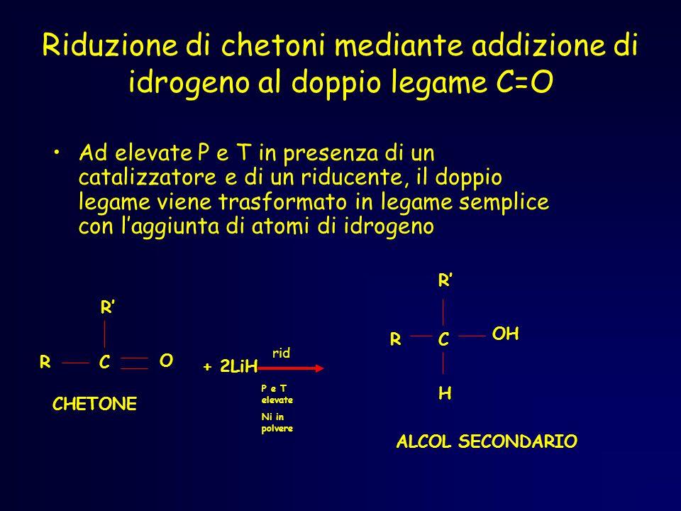 Riduzione di chetoni mediante addizione di idrogeno al doppio legame C=O Ad elevate P e T in presenza di un catalizzatore e di un riducente, il doppio legame viene trasformato in legame semplice con l'aggiunta di atomi di idrogeno OH CR ALCOL SECONDARIO R' H rid P e T elevate Ni in polvere + 2LiH RC R' O CHETONE