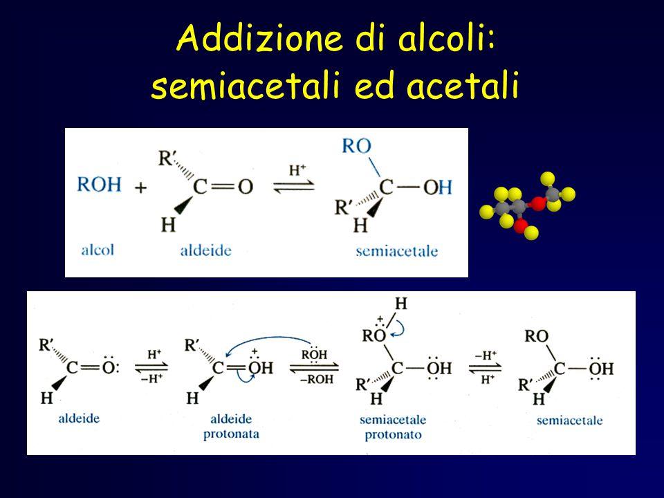 Semiacetali ciclici L ossidrile si trova in posizione favorevole per poter agire da nucleofilo sul carbonio con un meccanismo specifico.
