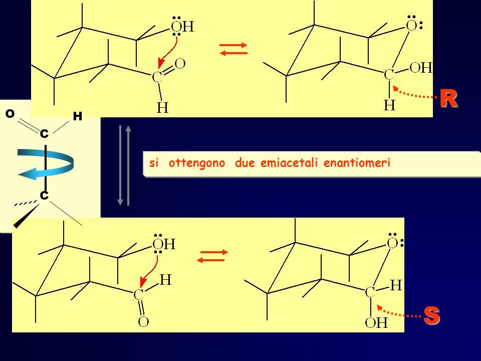 si ottengono due emiacetali enantiomeriS R C H O C