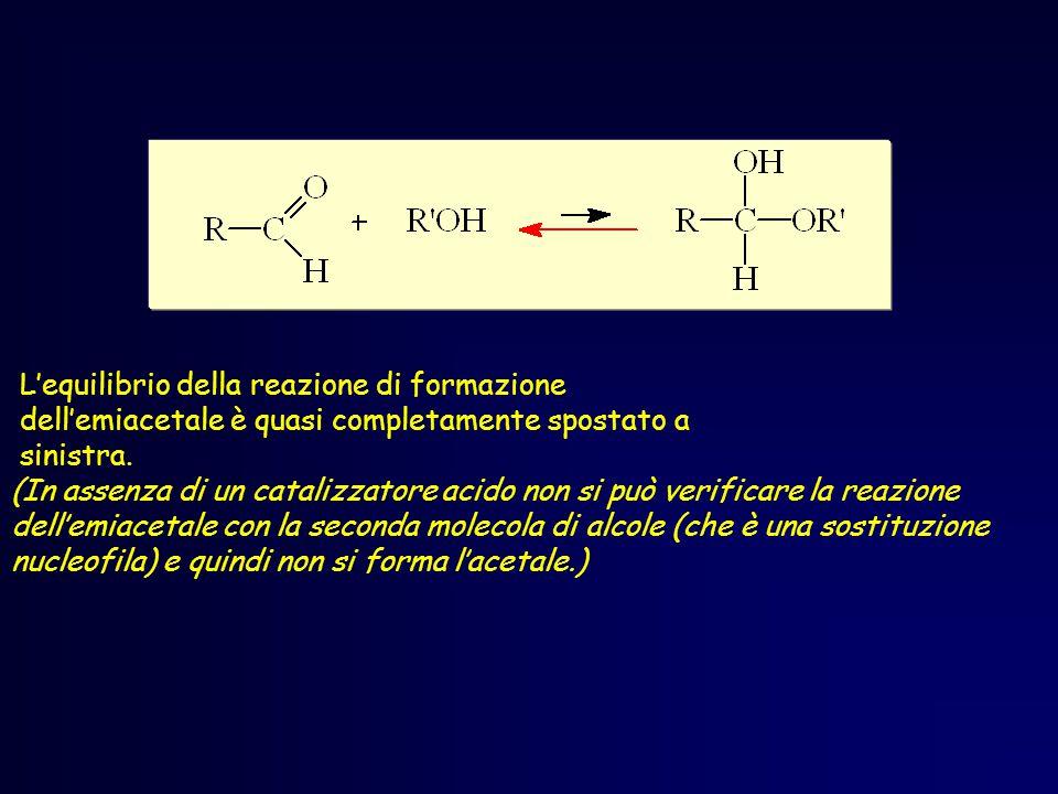 L'equilibrio della reazione di formazione dell'emiacetale è quasi completamente spostato a sinistra.