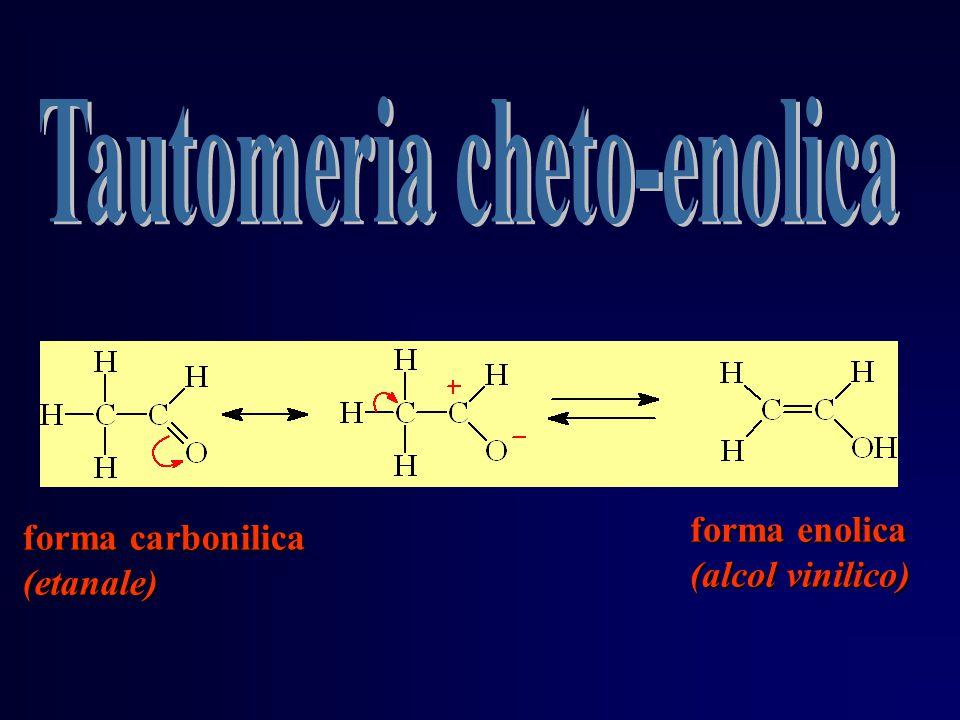 forma enolica (alcol vinilico) forma carbonilica (etanale)
