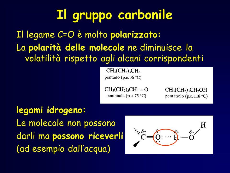 Aldeidi La polarizzazione del carbonile influenza la solubilità di aldeidi e chetoni, ed infatti i composti a basso peso molecolare, pur non potendo fare legami idrogeno tra loro, possono accettare legami idrogeno da altri gruppi contenenti i gruppi OH o NH.