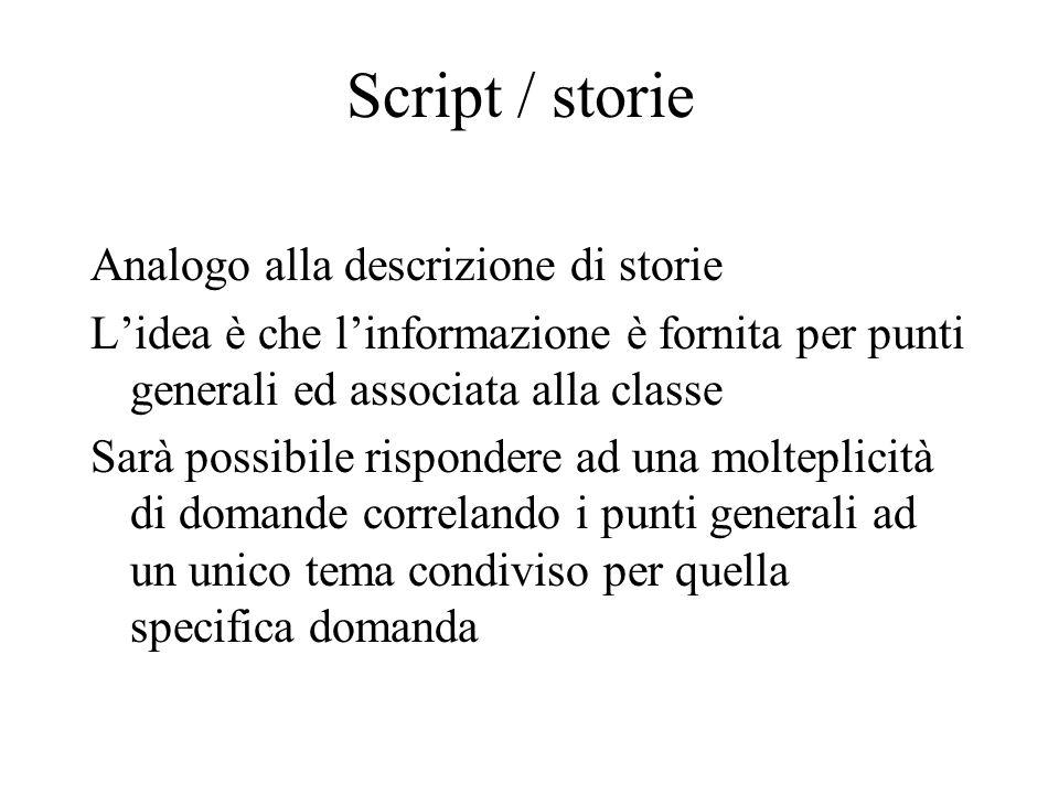 Script / storie Analogo alla descrizione di storie L'idea è che l'informazione è fornita per punti generali ed associata alla classe Sarà possibile ri