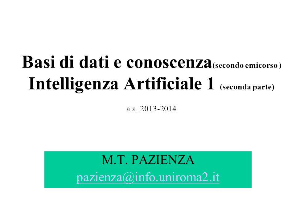 Basi di dati e conoscenza (secondo emicorso ) Intelligenza Artificiale 1 (seconda parte) a.a. 2013-2014 M.T. PAZIENZA pazienza@info.uniroma2.it