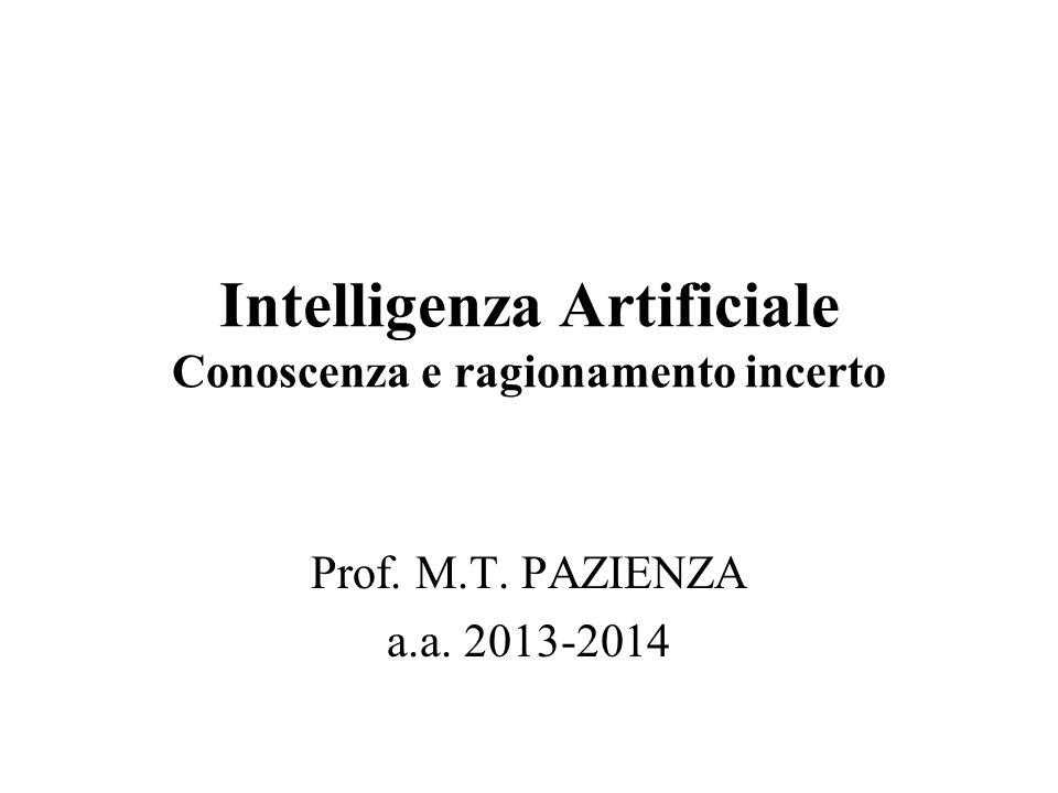 Intelligenza Artificiale Conoscenza e ragionamento incerto Prof. M.T. PAZIENZA a.a. 2013-2014