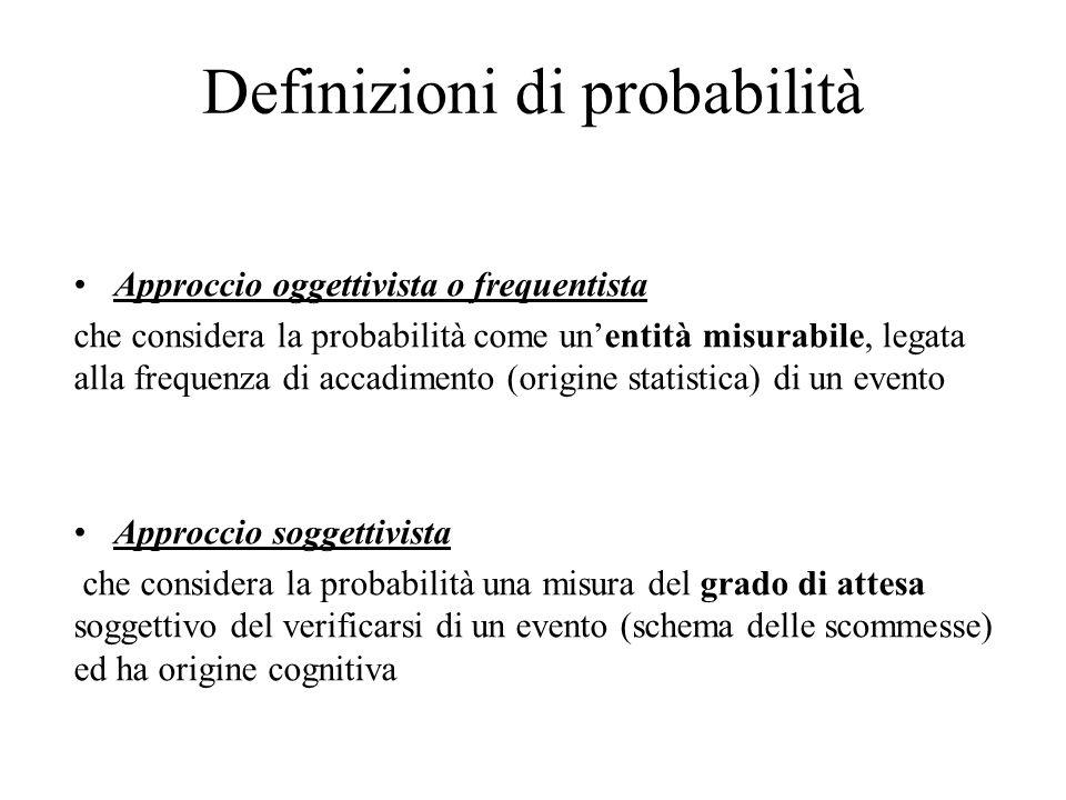Definizioni di probabilità Approccio oggettivista o frequentista che considera la probabilità come un'entità misurabile, legata alla frequenza di accadimento (origine statistica) di un evento Approccio soggettivista che considera la probabilità una misura del grado di attesa soggettivo del verificarsi di un evento (schema delle scommesse) ed ha origine cognitiva