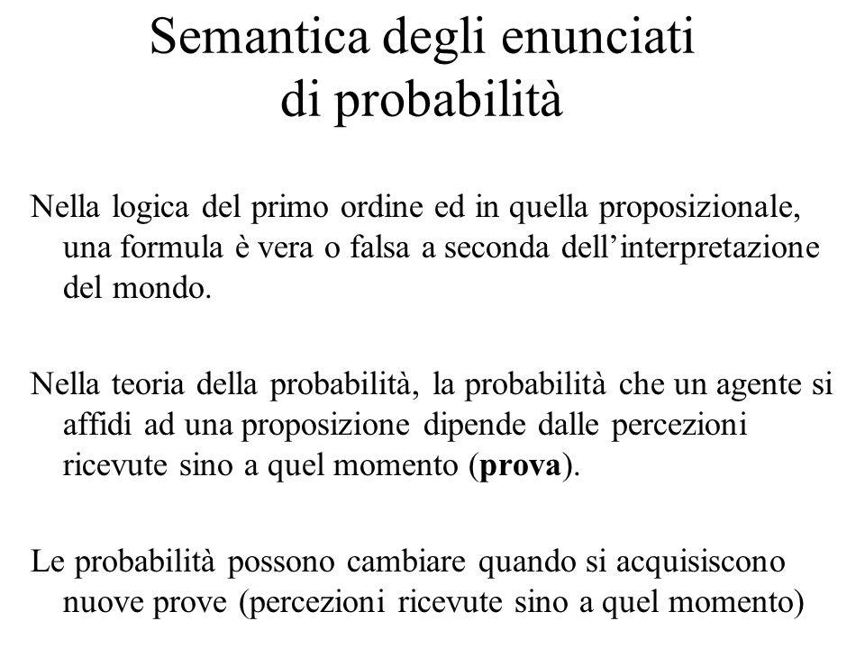 Semantica degli enunciati di probabilità Nella logica del primo ordine ed in quella proposizionale, una formula è vera o falsa a seconda dell'interpre