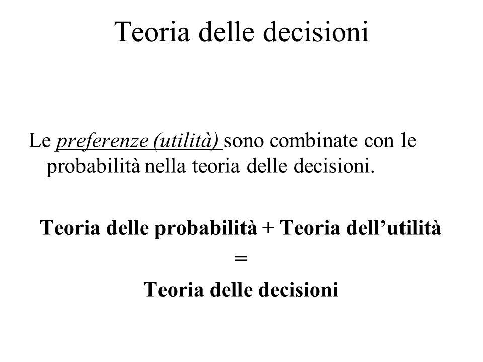 Teoria delle decisioni Le preferenze (utilità) sono combinate con le probabilità nella teoria delle decisioni. Teoria delle probabilità + Teoria dell'