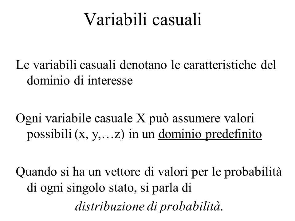 Variabili casuali Le variabili casuali denotano le caratteristiche del dominio di interesse Ogni variabile casuale X può assumere valori possibili (x,