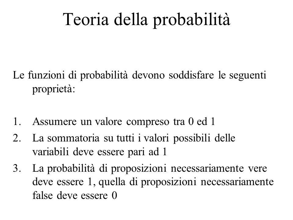 Teoria della probabilità Le funzioni di probabilità devono soddisfare le seguenti proprietà: 1.Assumere un valore compreso tra 0 ed 1 2.La sommatoria su tutti i valori possibili delle variabili deve essere pari ad 1 3.La probabilità di proposizioni necessariamente vere deve essere 1, quella di proposizioni necessariamente false deve essere 0