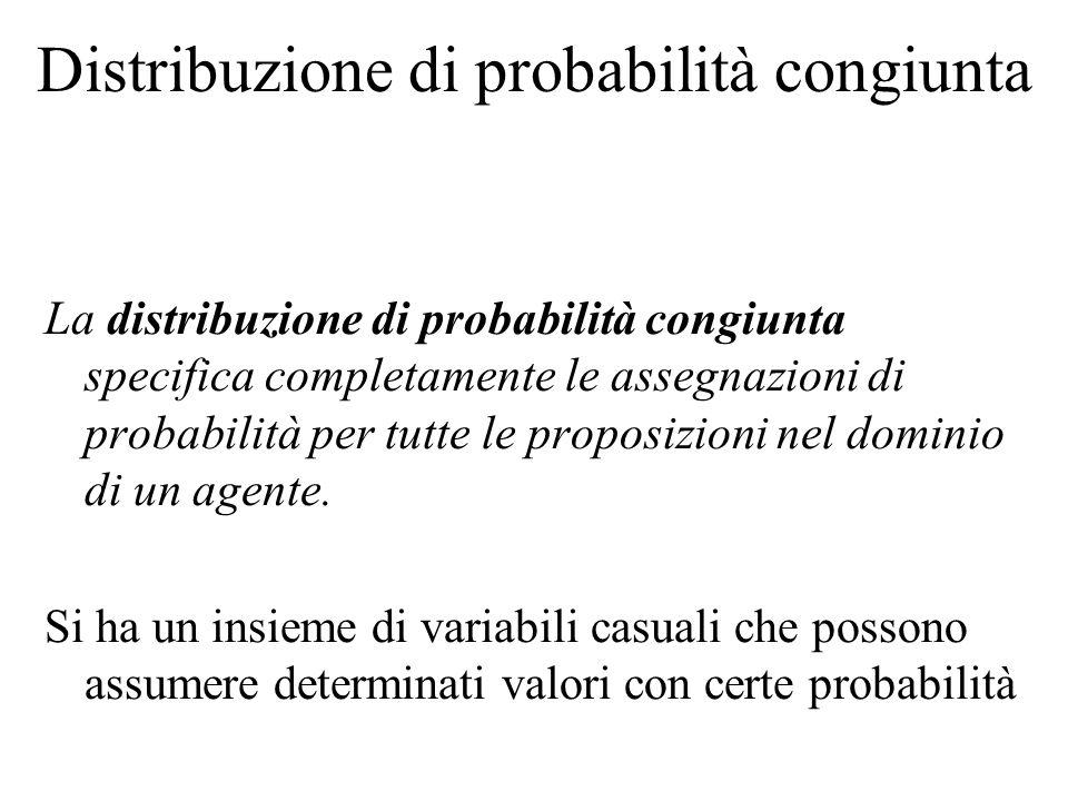 Distribuzione di probabilità congiunta La distribuzione di probabilità congiunta specifica completamente le assegnazioni di probabilità per tutte le p