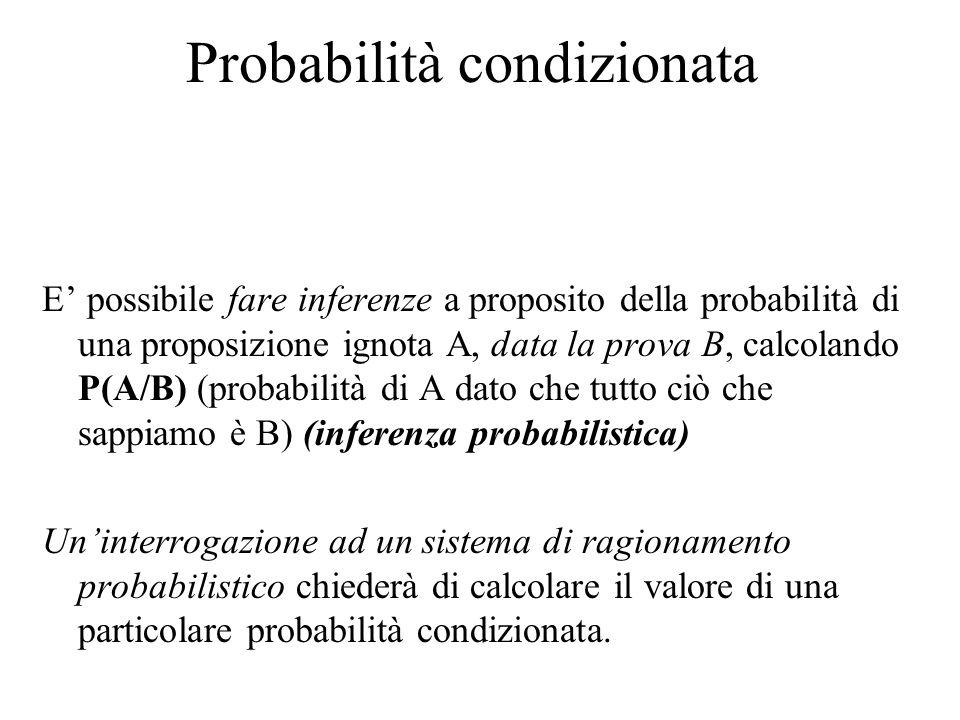 Probabilità condizionata E' possibile fare inferenze a proposito della probabilità di una proposizione ignota A, data la prova B, calcolando P(A/B) (probabilità di A dato che tutto ciò che sappiamo è B) (inferenza probabilistica) Un'interrogazione ad un sistema di ragionamento probabilistico chiederà di calcolare il valore di una particolare probabilità condizionata.