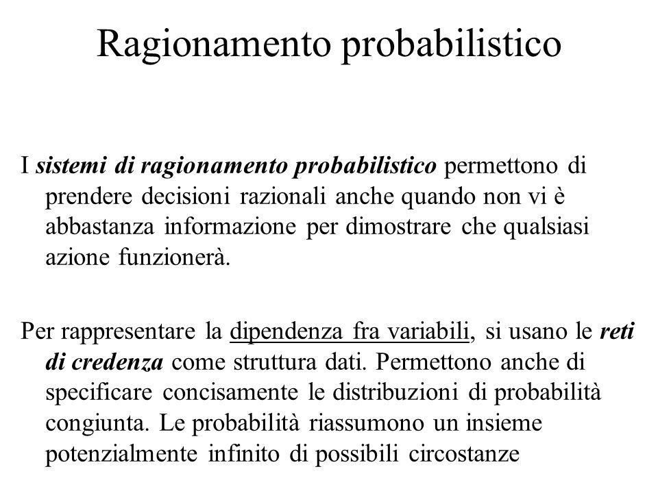 Ragionamento probabilistico I sistemi di ragionamento probabilistico permettono di prendere decisioni razionali anche quando non vi è abbastanza infor