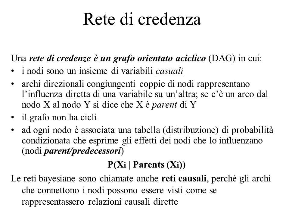 Rete di credenza Una rete di credenze è un grafo orientato aciclico (DAG) in cui: i nodi sono un insieme di variabili casuali archi direzionali congiungenti coppie di nodi rappresentano l'influenza diretta di una variabile su un'altra; se c'è un arco dal nodo X al nodo Y si dice che X è parent di Y il grafo non ha cicli ad ogni nodo è associata una tabella (distribuzione) di probabilità condizionata che esprime gli effetti dei nodi che lo influenzano (nodi parent/predecessori) P(X i | Parents (X i )) Le reti bayesiane sono chiamate anche reti causali, perché gli archi che connettono i nodi possono essere visti come se rappresentassero relazioni causali dirette