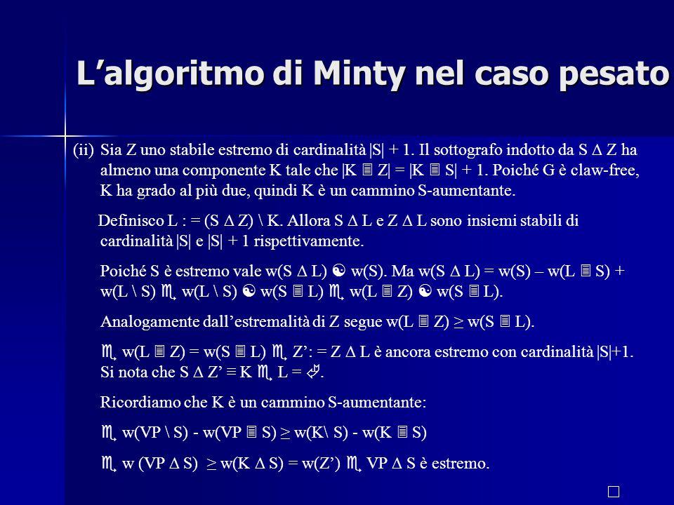 (ii)Sia Z uno stabile estremo di cardinalità |S| + 1.