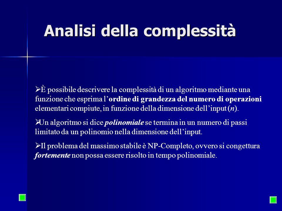 Analisi della complessità  È possibile descrivere la complessità di un algoritmo mediante una funzione che esprima l'ordine di grandezza del numero di operazioni elementari compiute, in funzione della dimensione dell'input (n).