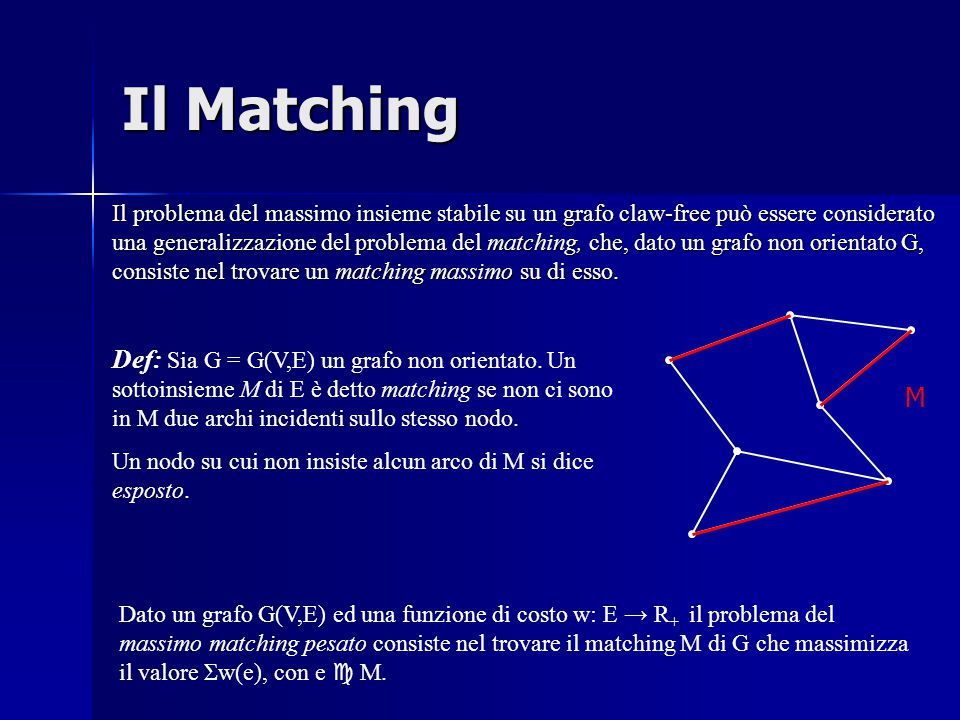 Il Matching Il problema del massimo insieme stabile su un grafo claw-free può essere considerato una generalizzazione del problema del matching, che, dato un grafo non orientato G, consiste nel trovare un matching massimo su di esso.