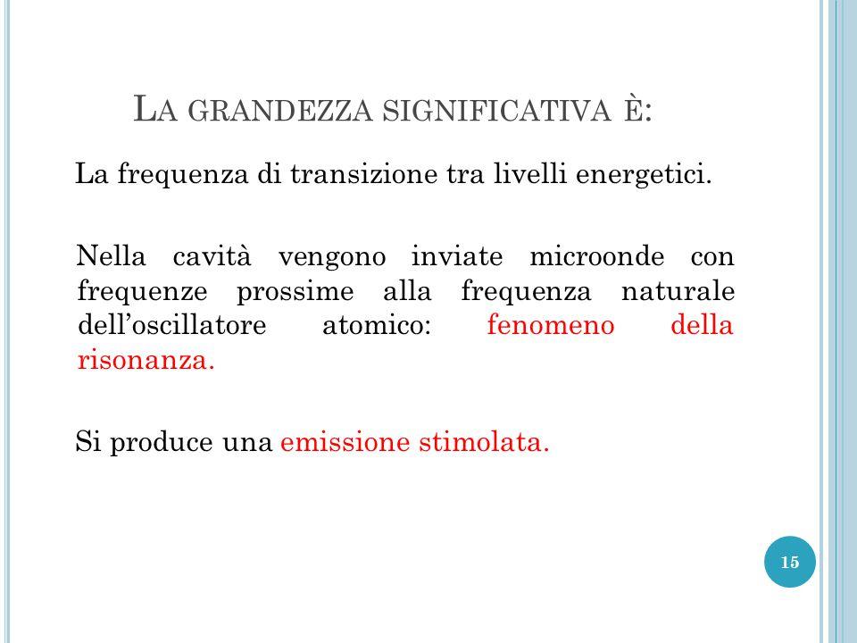 L A GRANDEZZA SIGNIFICATIVA È : La frequenza di transizione tra livelli energetici.