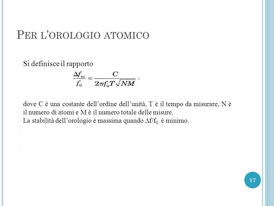 P ER L ' OROLOGIO ATOMICO 17 Si definisce il rapporto dove C è una costante dell'ordine dell'unità, T è il tempo da misurare, N è il numero di atomi e M è il numero totale delle misure.