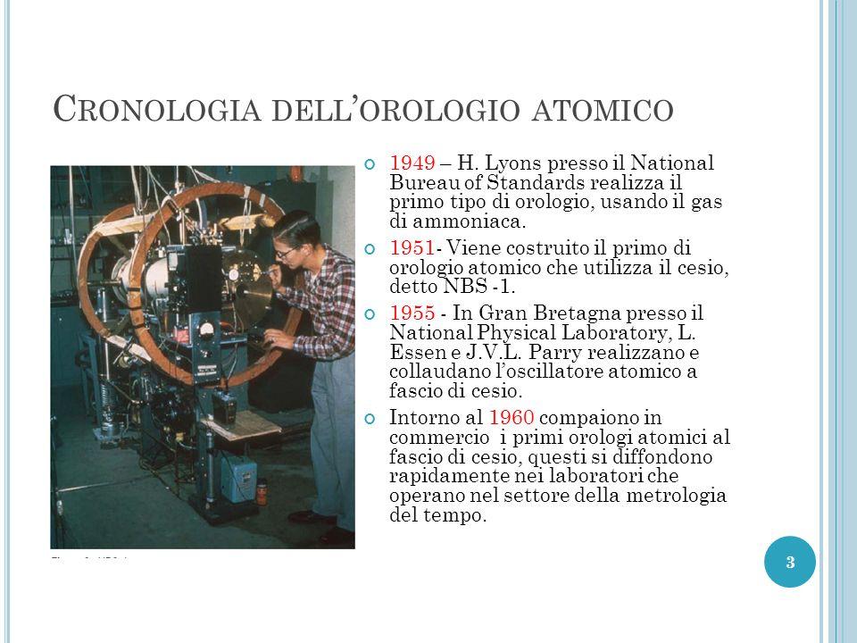 D OPO LA STORICA REALIZZAZIONE SPERIMENTALE DI E SSEN E P ARRY, SI SONO SUCCEDUTI DIVERSI MODELLI, L' ULTIMA GENERAZIONE DI CAMPIONI AL CESIO DA LABORATORIO È QUELLO DELLA FONTANA ATOMICA (1995).