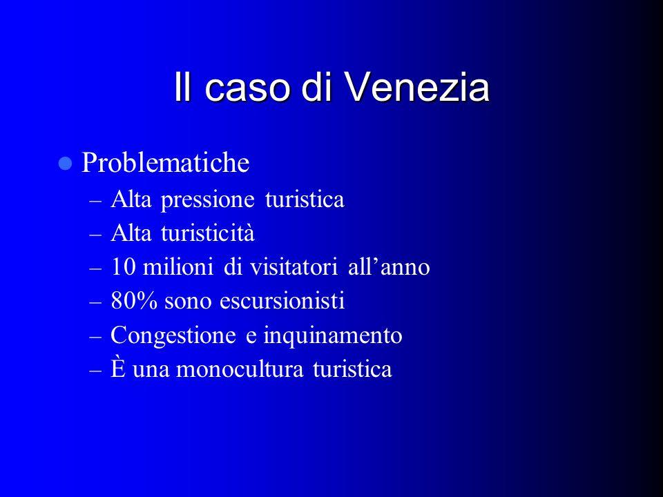 Il caso di Venezia Problematiche – Alta pressione turistica – Alta turisticità – 10 milioni di visitatori all'anno – 80% sono escursionisti – Congestione e inquinamento – È una monocultura turistica