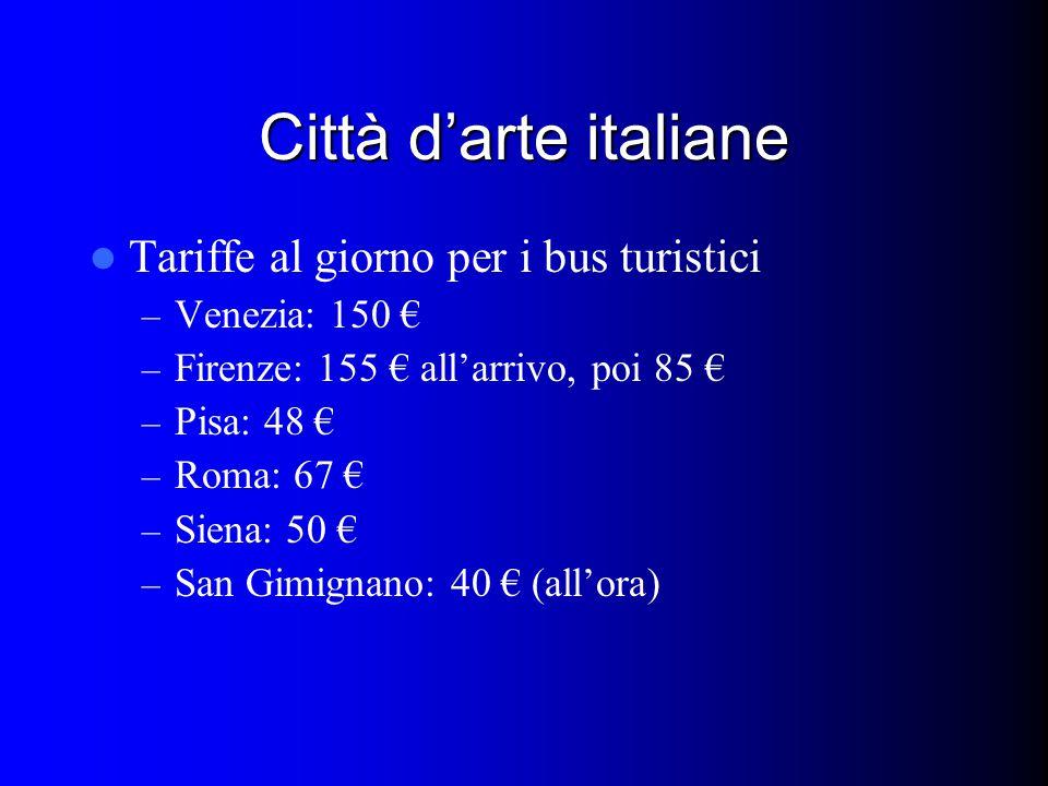 Città d'arte italiane Tariffe al giorno per i bus turistici – Venezia: 150 € – Firenze: 155 € all'arrivo, poi 85 € – Pisa: 48 € – Roma: 67 € – Siena: 50 € – San Gimignano: 40 € (all'ora)