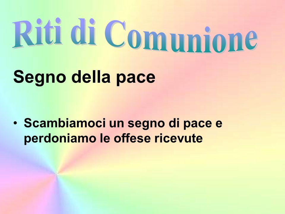 Segno della pace Scambiamoci un segno di pace e perdoniamo le offese ricevute