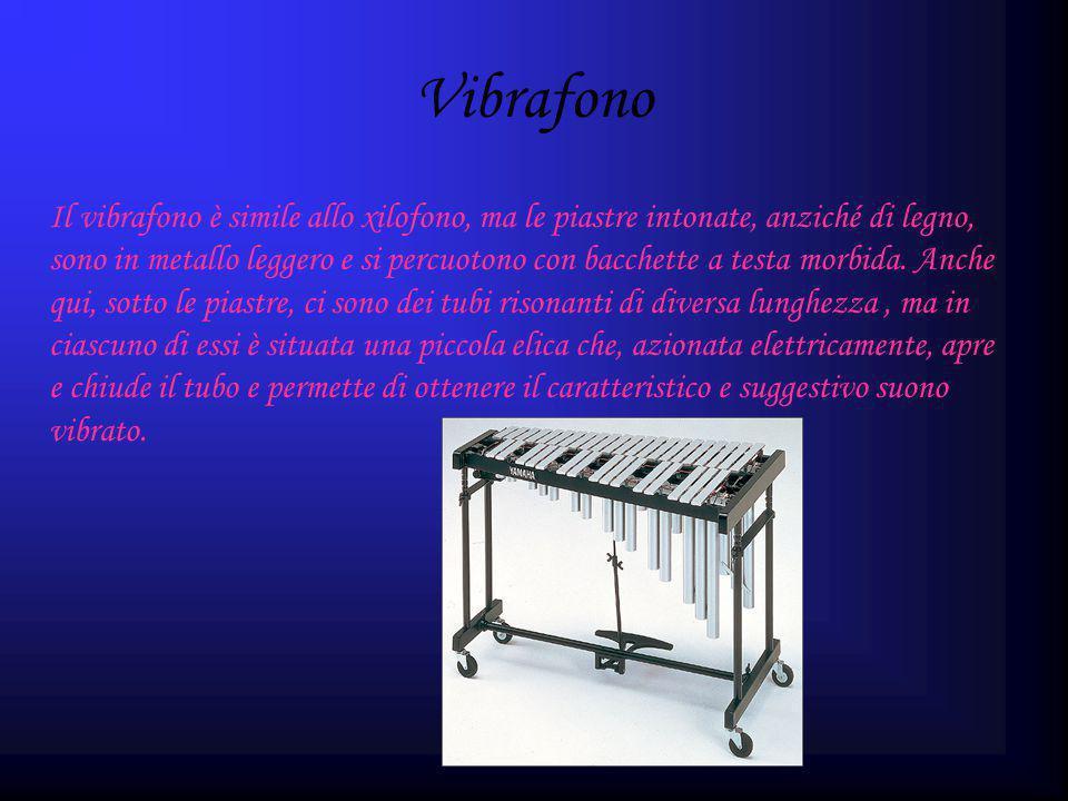 Vibrafono Il vibrafono è simile allo xilofono, ma le piastre intonate, anziché di legno, sono in metallo leggero e si percuotono con bacchette a testa