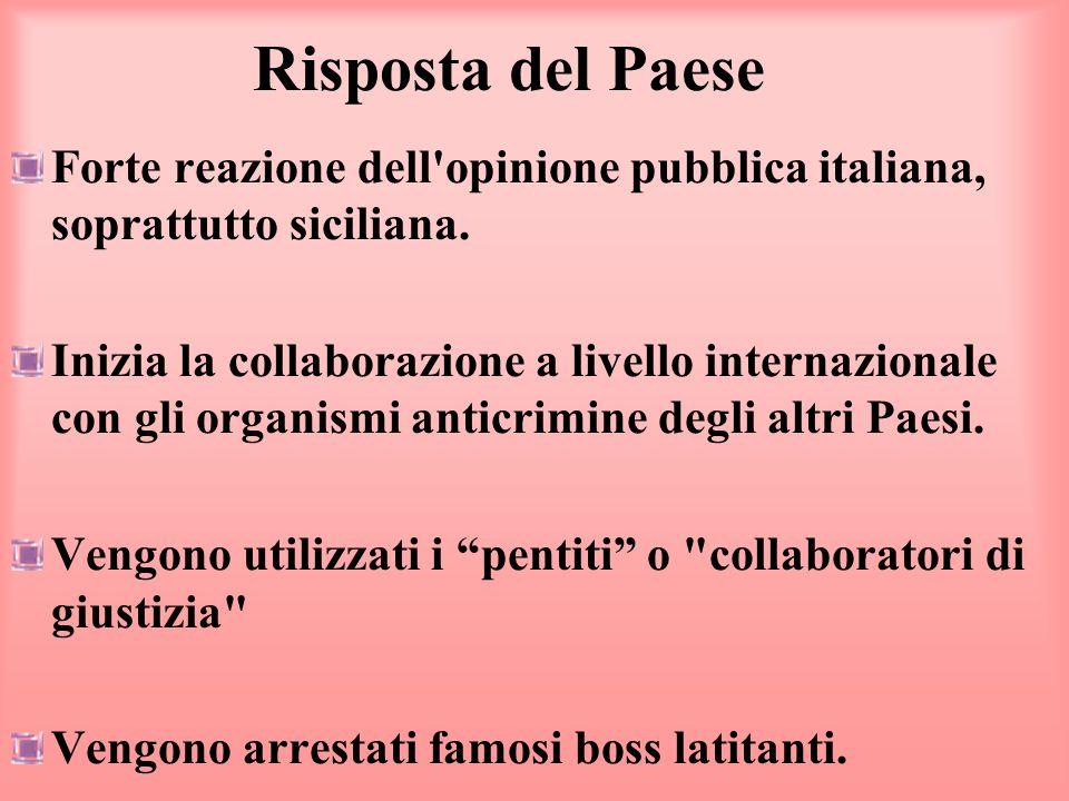 Risposta del Paese Forte reazione dell'opinione pubblica italiana, soprattutto siciliana. Inizia la collaborazione a livello internazionale con gli or