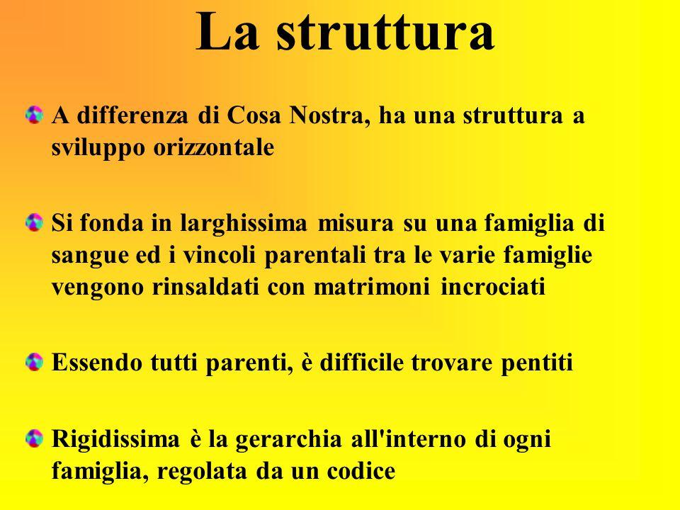 La struttura A differenza di Cosa Nostra, ha una struttura a sviluppo orizzontale Si fonda in larghissima misura su una famiglia di sangue ed i vincol