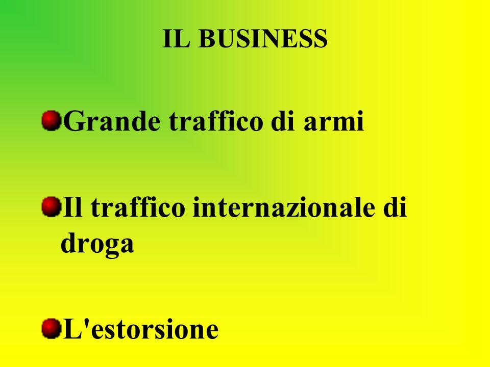 IL BUSINESS Grande traffico di armi Il traffico internazionale di droga L'estorsione