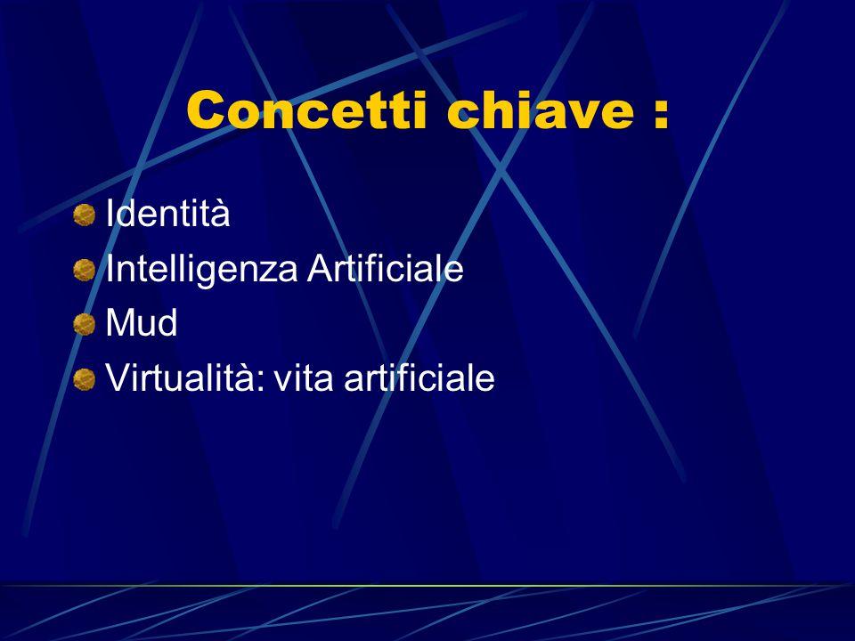 Concetti chiave : Identità Intelligenza Artificiale Mud Virtualità: vita artificiale