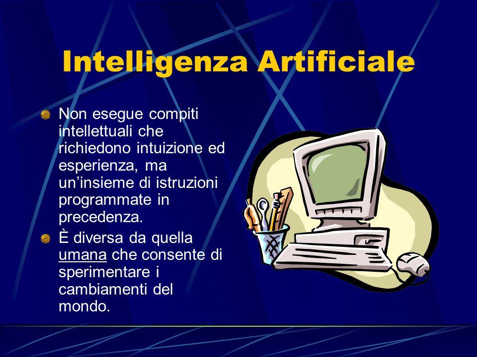 Intelligenza Artificiale Non esegue compiti intellettuali che richiedono intuizione ed esperienza, ma un'insieme di istruzioni programmate in precedenza.