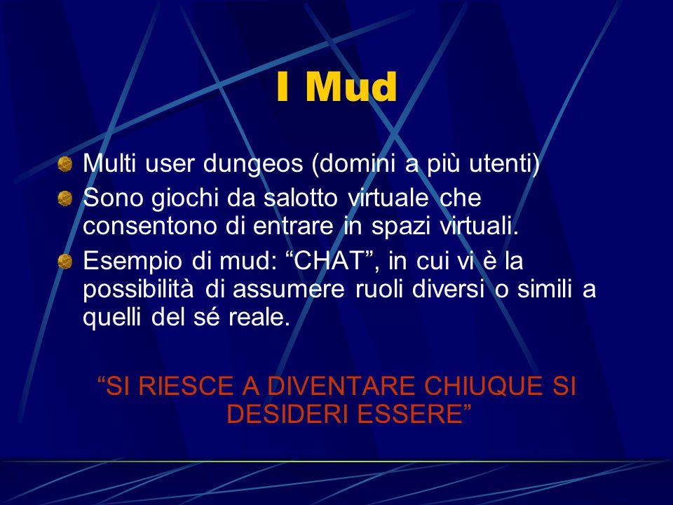 I Mud Multi user dungeos (domini a più utenti) Sono giochi da salotto virtuale che consentono di entrare in spazi virtuali.