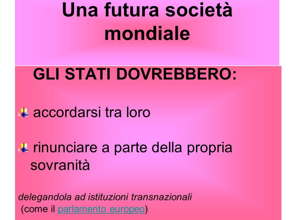 Una futura società mondiale GLI STATI DOVREBBERO: accordarsi tra loro rinunciare a parte della propria sovranità delegandola ad istituzioni transnazio