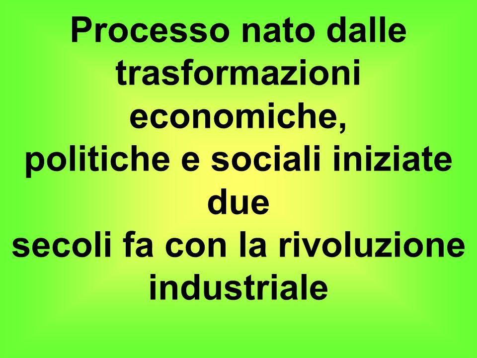 Processo nato dalle trasformazioni economiche, politiche e sociali iniziate due secoli fa con la rivoluzione industriale