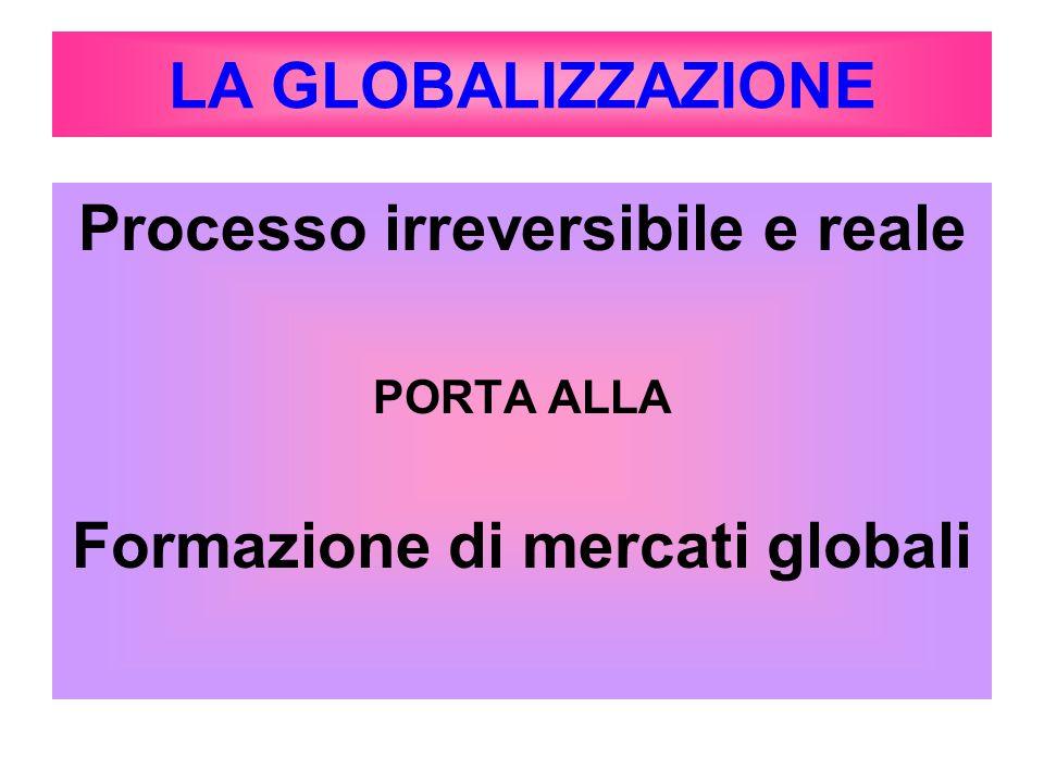 LA GLOBALIZZAZIONE Processo irreversibile e reale PORTA ALLA Formazione di mercati globali