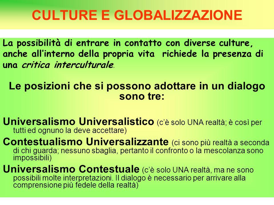 CULTURE E GLOBALIZZAZIONE La possibilità di entrare in contatto con diverse culture, anche all'interno della propria vita richiede la presenza di una